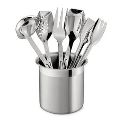 Frontgate - All-Clad 6-pc. Cook Serve Tool Set - Polished 18/10 stainless steel is easy to clean and extremely durable. Each tool is ergonomically designed for an ideal weight and feel. Dishwasher-safe. Beauty and function are always within reach with our All-Clad Six-Piece Cook Serve Tool Set.The set includes a highly polished stainless steel fork, ladle, solid spoon, slotted spoon and tongs, all thoughtfully sized for serving food as well as cooking, and placed in a brushed stainless steel canister. . . .
