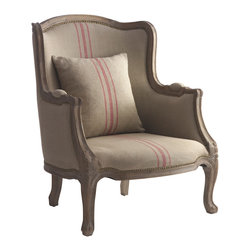 Kathy Kuo Home - Rennes Rustic French Country Linen Red Stripe Arm Chair - This rustic country armchair is designed to let you sink right in. With a lower profile than some taller wingback chairs, the Rennes chair won't overwhelm your room. The natural linen upholstery and muted wood finish add to this piece's versatility while a delicious pink rose color racing stripe down the center adds a punch of fun.