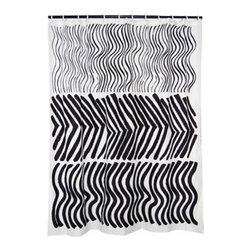 Marimekko Silkkikuikka Black & White Shower Curtain - Marimekko Shower Curtains - This wavy design is from the 60's and is one of Marimekko's oldest but it feels totally fresh.