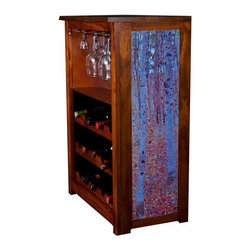 Kelseys Collection - Wine Cabinet 15 bottle Beech Forest by Gustav Klimt - Wine Cabinet stores fifteen wine bottles and glassware with licensed artwork by Kim Drew giclee-printed on canvas side panels  The frame, top, and racks are solid New Zealand radiata pine with a hand stained and hand rubbed medium reddish brown finish, which is then protected with a lacquer coat and top coat. The art is giclee printed on canvas with three coats of UV inhibitor to protect against sunlight, extending the life of the art. The canvas is then glued onto panels and inserted into the frames.