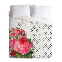 DENY Designs - Allyson Johnson Floral Polka Dots Duvet Cover - Turn your basic, boring down comforter into the super stylish focal point of your bedroom. Our Luxe Duvet is made from a heavy-weight luxurious woven polyester with a 50% cotton/50% polyester cream bottom. It also includes a hidden zipper with interior corner ties to secure your comforter. it's comfy, fade-resistant, and custom printed for each and every customer.