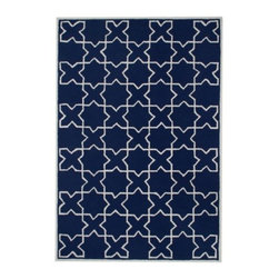 Z Gallerie - Bangor Rug - Our stunning Bangor Rug brings a touch of exotic style to complement a variety of decor settings. Layering a space with depth and dimension, our Bangor Rug has been artfully hand-tufted in a Moroccan inspired graphically repetitive motif.  For the utmost in versatility our Bangor Rug has been woven for both indoor and outdoor use, and is available in a stunning sapphire with ivory pattern.