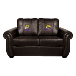 Dreamseat Inc. - LSU NCAA Chesapeake Brown Leather Loveseat - Check out this Awesome Loveseat. It's the ultimate in traditional styled home leather furniture, and it's one of the coolest things we've ever seen. This is unbelievably comfortable - once you're in it, you won't want to get up. Features a zip-in-zip-out logo panel embroidered with 70,000 stitches. Converts from a solid color to custom-logo furniture in seconds - perfect for a shared or multi-purpose room. Root for several teams? Simply swap the panels out when the seasons change. This is a true statement piece that is perfect for your Man Cave, Game Room, basement or garage.