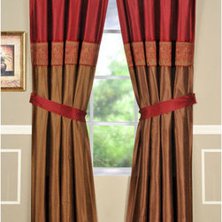 Home Fashions International - Jessica 84 Inch Burgundy Single Panel w/ Tiebacks - - This silky two tone design in burgundy and dark taupe offers a simple yet timeless look, embroidery design gives itself to a traditional appeal. Use multiple panels for wider windows. Home Fashions International - 53760DP1BUR