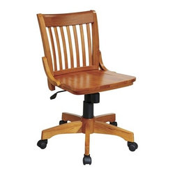 Office Star - Office Star Deluxe Armless Wood Bankers Chair with Wood Seat (Fruit Wood Finish) - OSP Designs Deluxe Armless Wood Bankers chair with Wood Seat (Fruit Wood Finish)