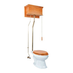 Renovators Supply - High Tank Toilets Light Oak Fin Flat Tank Elong Toilet L-pipe - High Tank Toilets L-pipe: Light oak finish, flat panel, elongated bowl. Water-saving 1.6 GPF. One time flush, quiet & efficient, gravity-activated, SIPHONIC-ACTION washdown. Our  finish protects every Grade A Vitreous china bowl from common household stains. Ergonomically designed for comfort our  bowls ease the daily strains placed on our bodies. Ready to install, includes: hardwood tank & plastic liner, stainless steel tubing with Brass PVD finish, brass mounting parts, supply line, angle stop & bowl. Toilet seat sold separately. Adjustable overall height 70 in. to 74 in. & rough-in 12 in. to 15 in.