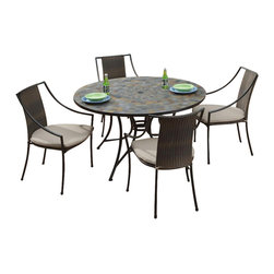 HomeStyles - 5-Pc Outdoor Dining Set - Includes dining table and four laguna arm chairs. Large round dining table. Small, square, hand applied slate tiles table top. Center opening. Can be used for an umbrella or can closed with black cap. Adjustable, nylon glides. Prevent damage to surfaces caused by movement. Provide stability on uneven surface. Two-tone. Walnut brown synthetic-weave seat. Tie-attachment taupe cushions. Synthetic-weave is both moisture and weather resistant. Low maintenance. Made from slate and powder coated steel. Slate, black and brown color. Made in Vietnam. Chair: 23.25 in. W x 22.25 in. D x 36 in. H.  Seat height: 18 in.. Arm height: 22.75 in. H. Table: 51.25 in. Dia. x 29.5 in. H. Table Assembly Instructions. Chair Assembly InstructionsNo two tops being exactly the same in a naturally occurring gray variation. All Homes Styles outdoor, casual dining chairs are sold two per pack and are designed to stack for easy storage.