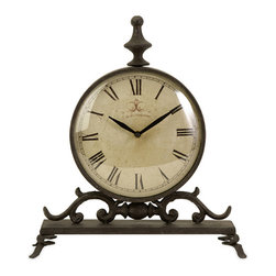 Vintage French Iron Table Clock - *Traditional iron table clock with roman numerals, exclusive design.