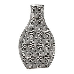 "IMAX - Reagan Small Pattern Vase - The small Reagan vase features bold geometric pattern in a stark black and white contrasting color scheme. Pair with its larger counter part for a striking set of conversation pieces. Item Dimensions: (16.5""h x 9.5""w x 4.25"")"