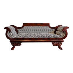 Christa Pirl Furniture - Antique Empire Settee Newly Upholstered in Greek Key - This settee is ideal for the person who believes elegant reclining is a form of personal expression. Crafted in the 1840s, it serves as an excellent example of high American Greek Revival (our version of French Empire).  This type of settee graced many an abode in the antebellum South, where American Greek Revival was most vigorously embraced.  Napoleon and his dynamite decorating duo of Percier & Fontaine spawned this classically inspired style, and not terribly surprisingly, often incorporated an array of power motifs (note the combination of eagles' wings and lions paws for legs).  With the addition of a classic black & white Greek key pattern, Aphrodite becomes an absolute stunner.  Mint julep not included.