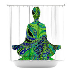 DiaNoche Designs - Shower Curtain Artistic - Man Woman Yoga II - DiaNoche Designs works with artists from around the world to bring unique, artistic products to decorate all aspects of your home.  Our designer Shower Curtains will be the talk of every guest to visit your bathroom!  Our Shower Curtains have Sewn reinforced holes for curtain rings, Shower Curtain Rings Not Included.  Dye Sublimation printing adheres the ink to the material for long life and durability. Machine Wash upon arrival for maximum softness. Made in USA.  Shower Curtain Rings Not Included.
