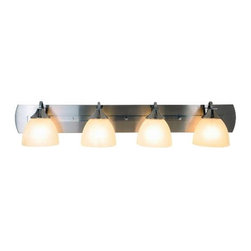 AF LIGHTING - Durango Lighting Collection, Bath Vanity 4-Light, Brushed Nickel - Brighten the decor of your bathroom with this four-light vanity fixture. It features a beautiful brushed nickel finish, a matching backplate, and alabaster glass globes.