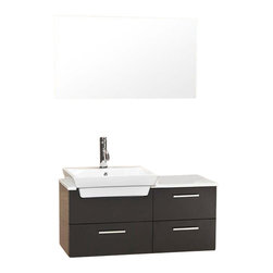 Fresca - Fresca Caro Solid Wood Espresso Modern Bathroom Vanity w/ Mirrored Side Cabinet - This solid wood espresso ensemble is contemporary and chic in design. As well as sleek geometrical lending an air of no frills but a touch of sophistication of white counter top contrasted and a white basin against natural oak coloring. Comes with mirror and a additional storage cabinet. Ideal for anyone looking for a simple yet elegant look.