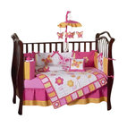 Butterfly Pink & Orange 9-Piece Crib Bedding Set