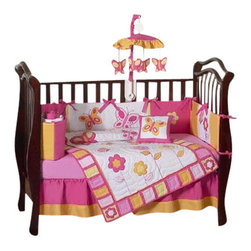 Sweet Jojo Designs - Butterfly Pink & Orange 9-Piece Crib Bedding Set - Outfit your baby's bedding in bright blossoms and butterflies, with this lovely pink and orange garden themed crib set. Included is everything you need to create an inviting environment for your baby's sleep: A comforter, bumper, fitted sheet, dust ruffle, diaper stacker, toy bag, decorative pillow and two window valances.