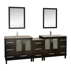 """Design Element Co. - 88 Inch Double Sink Bathroom Vanity with Storage - This 88 inch Modern Double sink bathroom vanity is a perfect center piece for your bathroom project.  This Espresso bathroom vanity features 4 Doors, 11 Drawers; Soft Close Hinges , and a Porcelain  counter top with White Porcelain Integrated Sinks that is Pre-Drilled for a Standard Single Hole (Not Included) faucet. Large opening in back for easy plumbing installation.  Dimensions: 88""""W X 18.25""""D X 34""""H; Counter Top: Porcelain ; Finish: Espresso (very dark brown - can appear black in certain lighting); Features: 4 Doors, 11 Drawers; Soft Close Hinges; Hardware: Satin Nickel; Sink(s): White Porcelain Integrated Sinks; Faucet: Pre-Drilled for Standard Single Hole (Not Included); Assembly: Light Assembly Required; Large cut out in back for plumbing; Included: Cabinet, Sink, Drain, Mirror (57""""W X 39.5""""H); Not Included: Faucet, Backsplash"""