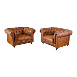 Great Deal Furniture - Claxton Tufted Brown Top Grain Leather Armchairs (Set of 2) - The Claxton Tufted Leather Amrchairs exude a nostalgic feel for Old English charm. These armchairs are made with top grain leather and show craftsmanship and attention to detail with their elaborately tufted wrap-around back and antique studded detailing at the base. These one-of-a-kind Claxton Tufted Leather Armchairs will be great statement pieces in any space.