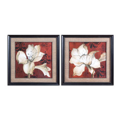 Uttermost - Amaryllis On Red Floral Art, Set of 2 - Romancing the walls! This beautiful set of Amaryllis prints is ready to bring a fresh outlook to your favorite spaces. A rich, red background with Tuscan motifs and an elegant, beaded matted frame give this art set Old World romantic flavor. Adorn your bedroom or hallway walls with this pretty floral pair.