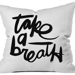 DENY Designs - Kal Barteski Take BW Outdoor Throw Pillow - Do you hear that noise? it's your outdoor area begging for a facelift and what better way to turn up the chic than with our outdoor throw pillow collection? Made from water and mildew proof woven polyester, our indoor/outdoor throw pillow is the perfect way to add some vibrance and character to your boring outdoor furniture while giving the rain a run for its money. Custom printed in the USA for every order.