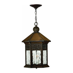Hinkley Lighting - 2992SN Westwinds Outdoor Hanging Lantern, Sienna, Clear Water Shades Glass - Southwestern Outdoor Hanging Lantern in Sienna with Clear Water Shades glass from the Westwinds Collection by Hinkley Lighting.