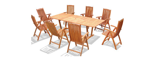 "Vifah - 9-Piece Outdoor Wood Dining Set with Oval Extension Table - Dimensions: Table: 91""L x 39""W x 29""H; Chair: 25""L x 21.57""W x 41.14""H"