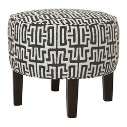 Catalina 20-Inch Round Ottoman - The cute and stout shape of this 20-inch round ottoman would look great in front of a window in a guest room. It's a fashionable spot to set your suitcase.