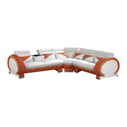 VIG Furniture - 7392 Two-Tone White & Orange Top Grain Leather Sectional Sofa - The 7392 sectional sofa is a great choice for any living room that needs a touch of modern design. This sectional sofa comes upholstered in a stunning two-tone white and orange top grain leather in the front where your body touches. Skillfully chosen match material is used on the back and sides where contact is minimal. High density foam is placed within the cushions for added comfort. Only solid wood products were used when crafting the frame making it very durable.