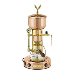 "Elektra - Elektra Semiautomatic Copper and Brass Espresso and Cappuccino Machine - Copper & Brass body. Brass eagle on dome (wings down to avoid breakage) Heat exchanger system with proper temperature to extract the most flavor from coffee bean. Pump-operated to deliver water to group head and to refill boiler. Twist knob-controlled steam valve for quick turn on and offs. Three-way solenoid valve to relieve pressure in group head when finished extracting espresso Water level sight glass with pressure gauge. Manual water refill switch for boiler Boiler pressure relief valve for safety. Durable brass boiler that provides very dry steam for frothing milk Top loading water basin for easy refill and for continuous water delivery so machine does not have to be shut down like hand lever models Bakelite handle on portafilter Large round base (10"" diameter) Dimensions: 23"" H x 10"" w x 10"" D 800 Watt, 110 Volts, 60 Hz Limited two-years warranty . Made in Italy.. Note: The steam wand is Ships unassembled to prevent damage when Ships. A crescent wrench is needed to place it back.  A brand new machine, upon receiving, may not heat. The reason is that if the user does not immediately engage the boiler water refill button upon startup to move water from the top basin to the lower boiler, the safety thermostat will shut off power to the heating element. If you purchased from us, please email us for reset instructions."