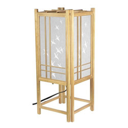"Oriental Furniture - 18"" Cranes Shoji Lamp - Natural - This 18"" high Cranes Shoji Lamp features a traditional wooden lattice design backed by hand-painted white rice paper with crane motif.  It is the perfect choice for evoking feelings of serenity in yThis home or business."