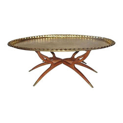 Mid-Century Brass Top Tray Table - $2,200 Est. Retail - $1,629 on Chairish.com -