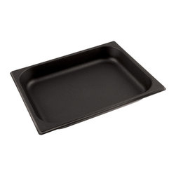 Paderno World Cuisine - 12 1/2 in. by 10 1/2 in. Non-stick Pan for Hotel Pan - This 12 1/2 in.  by 10 1/2 in.  non-stick hotel food pan is a standard size which fits into universal racks, heating elements and walk-in coolers. This standard was intended to rationalize the working processes in food industry operations by creating a high level of compatibility of kitchen equipment. All inserts are stackable and have rounded reinforced edges. The Palermo series is a part of a lineage of cookware more than 80 years old. It is NSF approved.