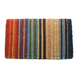Entryways - Rainbow Extra Thick Hand Woven Coconut Fiber Doormat - Designed by an artist, this distinctive mat is a work of art that will add a welcoming touch to any home. It is from Entryways' handmade collection and meets the industry's highest standards. This decorative mat is handsomely hand woven and hand stenciled.