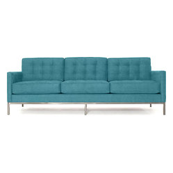 Thrive Home Furnishings - Sullivan Sofa, Lucky Turquoise - Things are definitely lining up in your favor. Like the crisp, contemporary lines of this three-over-three sofa. And what's not to like about the billowy comfort of tufted cushions without the bumps of buttons? It's something to appreciate as everyone heads over to the sofa after sunset.