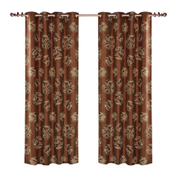 Dolce Mela - Dolce Mela DMC464 Window Treatments Damask Drapes Ceres Curtain Panels - Abstract jacquard patterns are shaped with tan polka dots and float on a shimmering saddle-brown background to create the utmost pleasant window treatments for a serene and sophisticated decor.