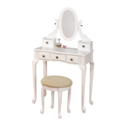 "Asia Direct - White Finish Wood 3-Piece Bedroom Vanity Set with Mirror and Stool - White finish wood 3-Piece bedroom vanity set with mirror and stool and multiple drawers. Vanity includes the vanity table with multiple drawers, mirror and stool with upholstered seat. Vanity measures 30"" x 16"" x 51"" H. stool measures 16"" x 16""H. Some assembly required."