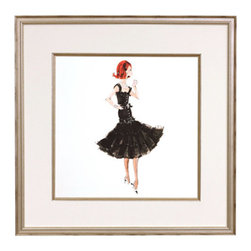 "AFK - AFK Art Fashion Barbie Haute Monde - Beloved by generations, Barbie's classically feminine apparel and glamorous appeal come to life with this collection of framed art by AFK. Depicting a vintage version of this timeless character, each print captures the details of a designer's sketch. The Haute Monde Barbie steps out in high society with a fitted black cocktail dress and classic pointed black and white heels. With her stunning red bob and chic pearls, this Barbie's style is the perfect addition to a young fashionista's room. Matted in white with silver details and framed in an antique silver wood finish. 16"" Square. Mounted hanging hardware included."