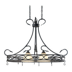 Kenroy Home - Kenroy - Countryside Two Light Pot Rack - KENROY - COUNTRYSIDE TWO LIGHT POT RACK