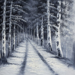 overstockArt.com - Birch Tree Road - Birch Tree Road is a great display of forest trees lining a woodland road, using monochromatic colors and rich textures. Imagine taking a weekend excursion on the country side, with birch trees lining the path, and the autumn breeze in your hair. Enjoy that memorable feeling everyday with this hand painted creation of nature at it's best.