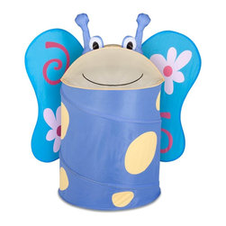 Honey Can Do - Large Kids Pop-Up Hamper - Butterfly - Large Kid's Pop-Up Hamper - Butterfly. 170T polyester. 3.3mm diameter spring wire. 18.5 in. L x 18.25 in. W x 30 in. H