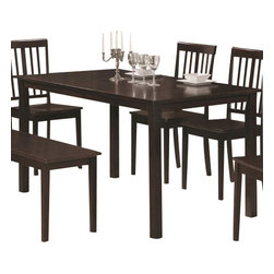 Coaster - Dining Table (Cappuccino) By Coaster - This Rectangular Dining Table is crafted from selected hardwoods and veneers in a rich Cappuccino finish. Suited for hosting casual or formal events, this table can accommodate up to six persons. The simplicity of its design accentuates the tables rich finish and candid appeal. Dimensions:55.12x31.5x29.87H Some assembly may be required. Please see product details.