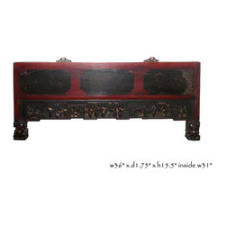 Vintage Red Black Scenery Carved Wall Decor Panel - This was an old home decor frame panel which is restore and redone to become a modern decorative piece. The detail scenery carving with golden color painting increases the elegance chic of the panel.