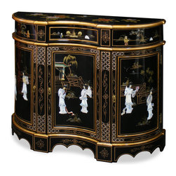 China Furniture and Arts - Black Lacquer Marquetry Console - Its hand-crafted mother of pearl dancing figures in rich hand lacquered wood gives this console its elegant, curved shape. One drawer on top and removable shelf behind each door provide plenty of storage space, true beauty and function in one. Hand painted details abound. Perfect for hallway, dining room or living room. Glass top sold at $85.00 upon request. Perfect as a hallway cabinet in the foyer or media cabinet in the living room (cable outlets can be made upon request).
