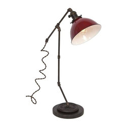 """Pre-owned Large Tee Brass Plumbing Table Lamp - Red Dome - Shed light on any project with this vintage industrial inspired desk lamp. The lamps feature repurposed industrial plumbing pipe, brass hardware and porcelain enamel metal shades.     •  24"""" High x 15 1/2"""" Deep x 7"""" Diameter Base  •  1/8 IP Brass pipe  •  1/8 IP Repurposed industrial brass plumbing pipe fittings  •  Solid brass knob switch standard medium (E26) base socket  •  Solid brass 2 1/4"""" shade fitter  •  7"""" Diameter porcelain enamel metal shade w/ white interior  •  8ft vintage style brown cloth covered twisted cord  •  Antique style brown Bakelite plug  •  110-250 Volts - 250 Watt max bulb (not included)  •  All UL Listed components  •  Vintage 2 ½ pound barbell  •  Reclaimed black honed marble base  •  Hand finished ebonized brass patina  •  Hand finished ebonized rust patina (barbell)  •  Handcrafted in Santa Barbara, CA by artisan Hilary Nagler"""