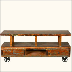 Industrial Reclaimed Wood Media Console TV Stand Entertainment Center -