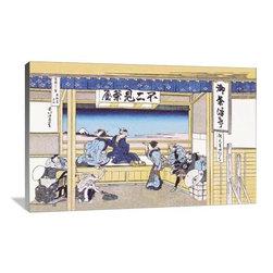 "Artsy Canvas - Village Inn Facing Mount Fuji 36"" X 24"" Gallery Wrapped Canvas Wall Art - Village Inn Facing Mount Fuji - Katsushika Hokusai (1760 beautifully represented on 36"" x 24"" high-quality, gallery wrapped canvas wall art"