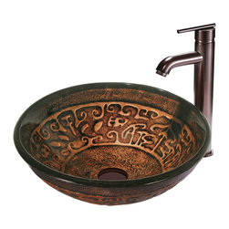 VIGO Industries - VIGO Golden Greek Glass Vessel Sink and Faucet Set in Oil Rubbed Bronze - The VIGO Golden Greek glass vessel sink and faucet set will position its self as a coveted art piece in your bathroom.