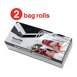 "Sous Vide Supreme - Sous Vide Supreme Vacuum Pouches / Bag Roll, Box of 2 - Each box contains two rolls--enough to make about 40 large Pouches (10"" x 11""/ 25.4 cm x 28 cm) or nearly 60 smaller Pouches (7"" x 11""/ 17.8 cm x 28 cm). Dimensions: 28 cm x 5 m (11 in x 16.4 feet) per rollSafety-tested for cooking at high temperatures BPA, lead and phthalate free Compliant with EU directive 2002/72/EC"