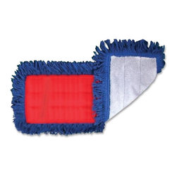 Genuine Joe - Genuine Joe Micro Fiber Dust Mop - 36 Width - 1 Each - Red, Gray, Blue, White - Micro Fiber Dust Mop fits a standard, 36 dust mop frame and handle. Poly/canvas-backed microfiber mops attract and hold dust that cotton mops leave behind. Envelope-style backing eliminates problems created by ties or snaps. Extra padding in mop allows complete surface contact. The mop attracts dust electrostatically and requires no treatment. 100 percent microfiber fringe picks up larger particles of dust and trash.
