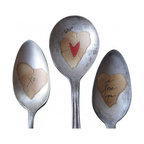 Love XO plant markers - A trio of love-inspired vintage silverplate spoons for your sweetie on his or her birthday, Valentine's day, or anniversary. Each spoon face is embellished with a paper heart.