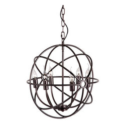 Elena Light Pendant - Small - This ceiling pendant casts a soft glow in any space. A chandelier-like frame is encased in the pendant�s metal orb, creating a unique fixture that�s great for living rooms, kitchens and dining areas.